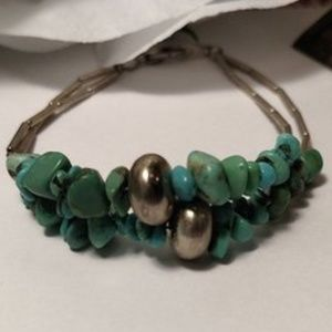 Vintage Turquoise Silver Tone Bead Nugget Bracelet